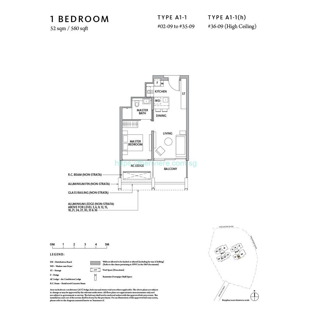 Riviere Type A1-1 1bedroom floor plan