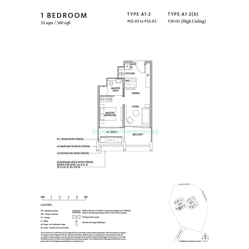 Riviere Type A1-2 1bedroom floor plan