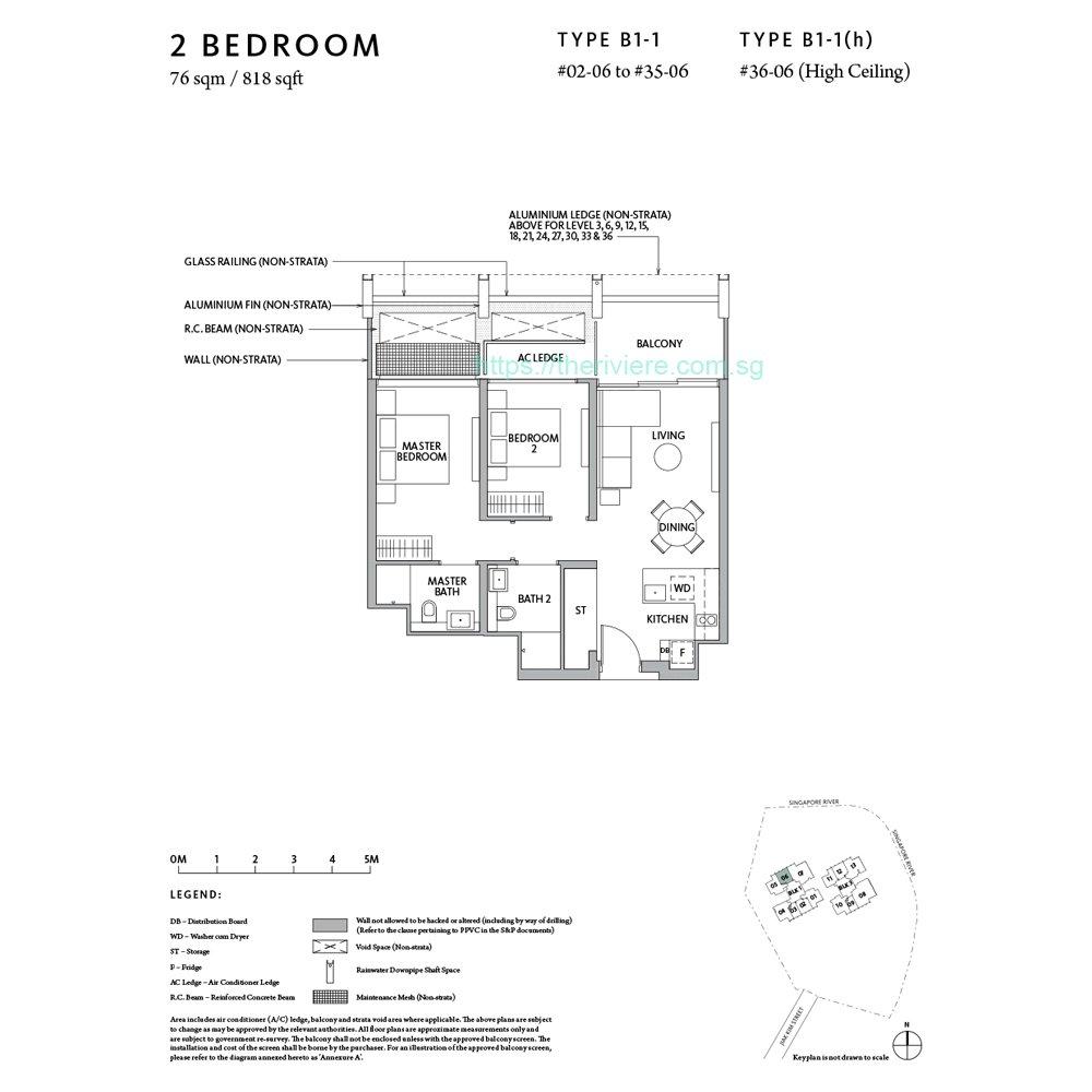 RIviere Type B1-1 2bedroom foor plan