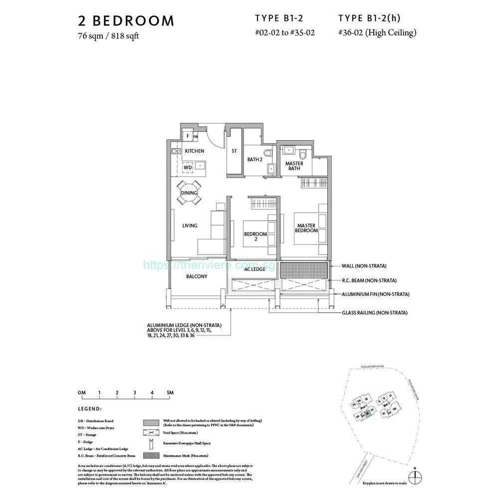Riviere Type B1-2 2bedroom floor plan