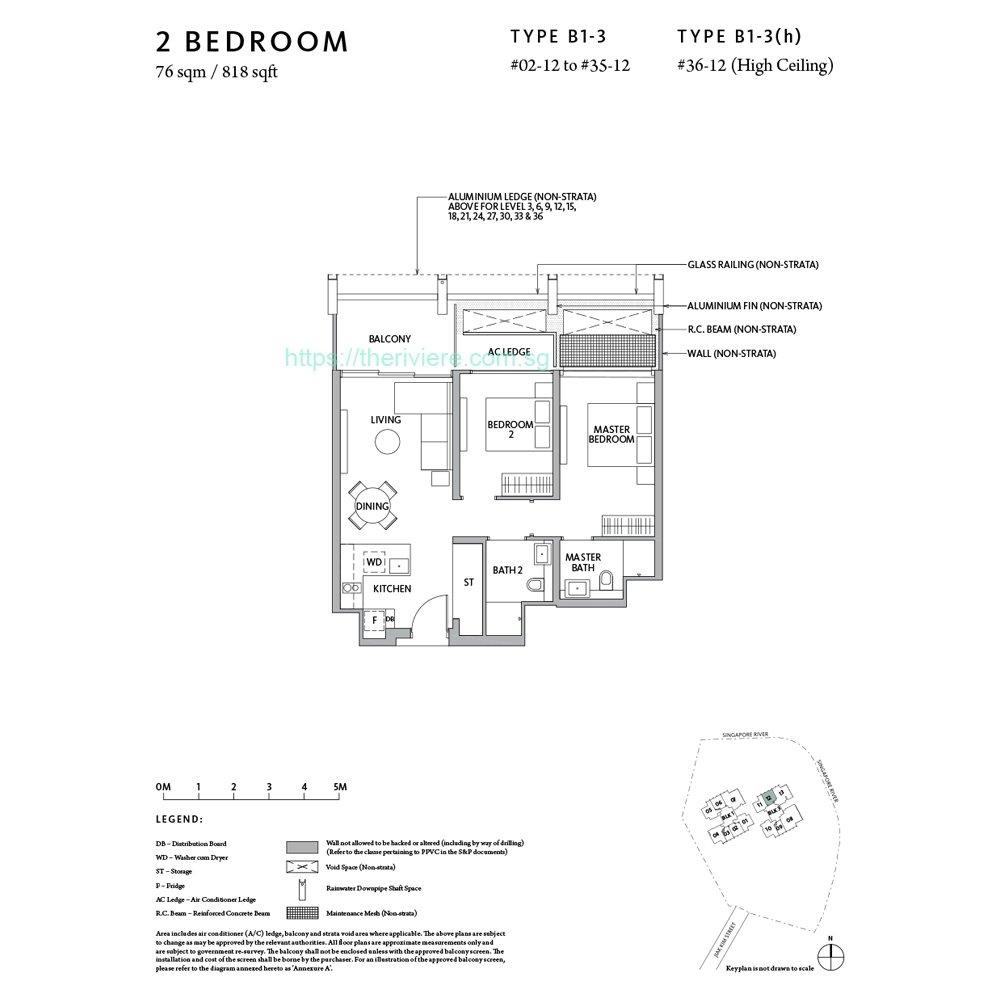 Riviere Type B1-3 2bedroom floor plan