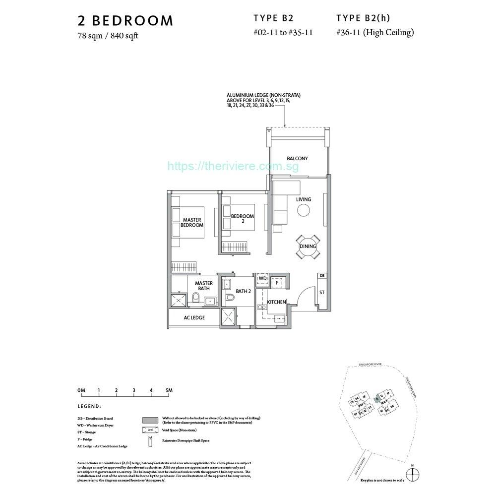 Riviere Type B2 2bedroom floor plan