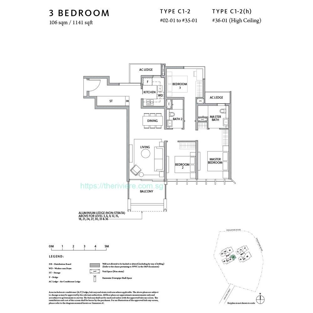 Riviere Type C1-2 3bedroom floor plan