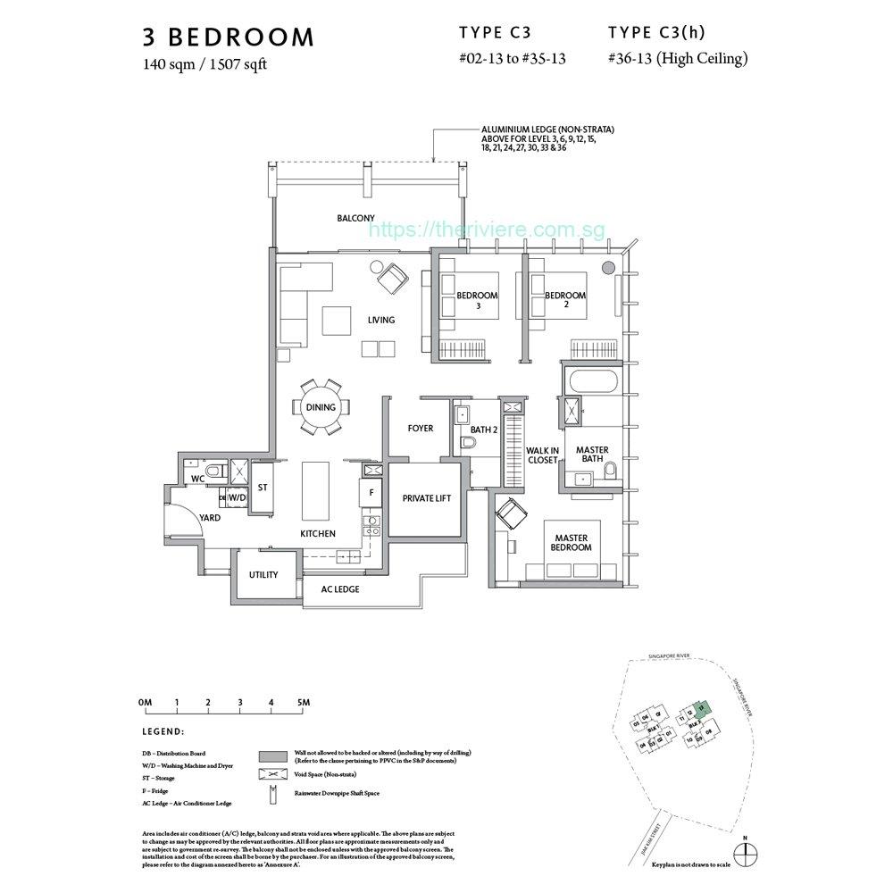 Riiere Type C3 3bedroom floor plan