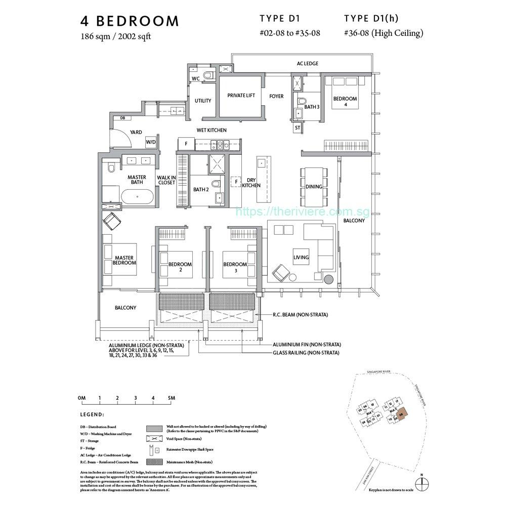 Riviere Type D4 4bedroom floor plan